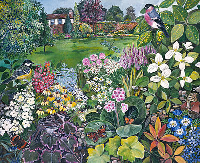 Blue Tit Painting - The Garden With Birds And Butterflies by Hilary Jones
