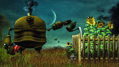 Sunflowers Digital Art - The Gardener by Bob Orsillo