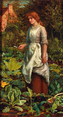 The Gardeners Daughter Art Print by Arthur Hughes