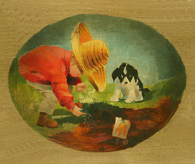Dogs Painting - The Gardeners by Doreta Y Boyd