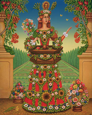 Flower Gardens Photograph - The Gardeners Wife, 2005 Oil & Tempera On Panel by Frances Broomfield