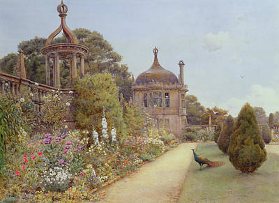 Peacock Drawing - The Gardens At Montacute In Somerset by Ernest Arthur Rowe