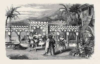 Garden Scene Drawing - The Gardens Of The Palace Of The Dey Of Algiers A Scene by English School