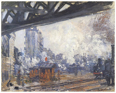 Gare Painting - The Gare Saint-lazare Outside View by Claude Monet