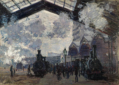 Gare Painting - The Gare St-lazare by Claude Monet