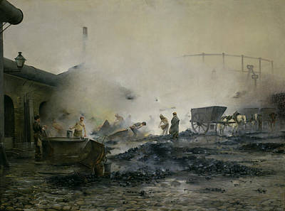 Gaz Photograph - The Gas Factory At Courcelles, 1884 Oil On Canvas by Ernest Jean Delahaye