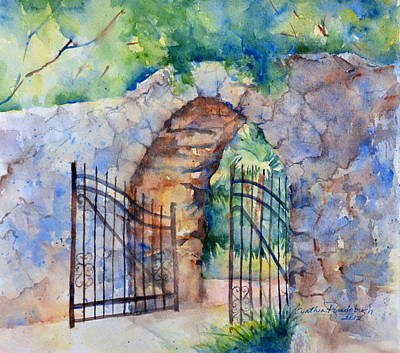 Southwest Gate Painting - The Gate by Cynthia Roudebush