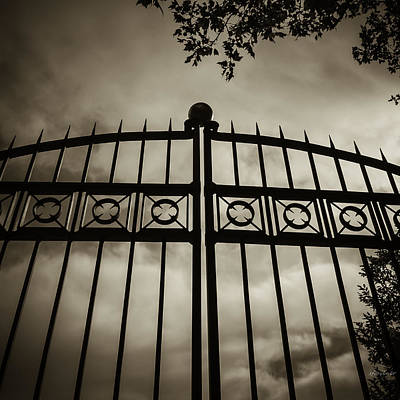 Art Print featuring the photograph The Gate In Sepia by Steven Milner