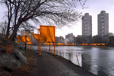 Park Scene Photograph - The Gates - Central Park New York - Harlem Meer by Gary Heller