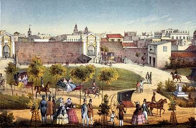 City Scenes Drawing - The Gates Of Monseratte, Havana, Cuba by Federico Mialhe