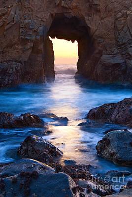 Pfeiffer Beach Photograph - The Gateway - Sunset On Arch Rock In Pfeiffer Beach Big Sur In California. by Jamie Pham
