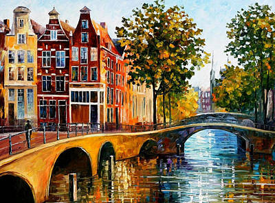 Free Painting - The Gateway To Amsterdam - Palette Knife Oil Painting On Canvas By Leonid Afremov by Leonid Afremov