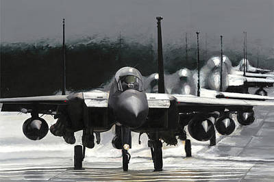 F15e Wall Art - Painting - The Gathering by Kenneth Karl