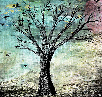 Flock Of Bird Mixed Media - The Gathering Tree by Catherine Harms