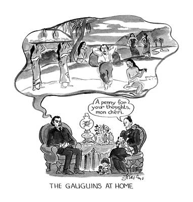Paradise Drawing - The Gauguins At Home by Edward Frascino