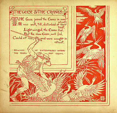 The Geese And The Cranes Art Print by English School