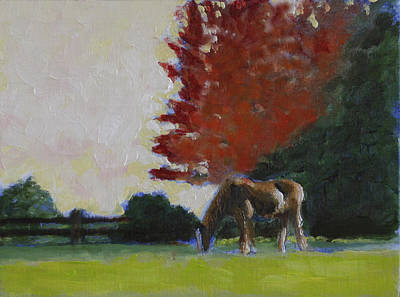 Horse In Autumn Painting - The Gelding by David Zimmerman