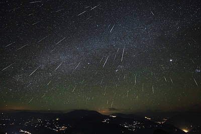 The Geminids Meteor Shower Streaks Art Print by Jeff Dai