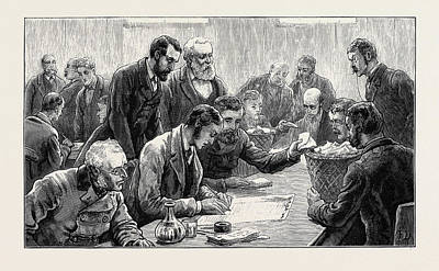 The General Election Counting The Votes At The Southwark Print by English School