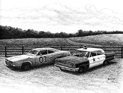 Dukes Of Hazard Show Drawing - The General Lee And Barney Fife's Police Car by Janet King