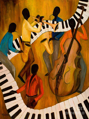 African American Art Painting - The Get-down Jazz Quintet by Larry Martin