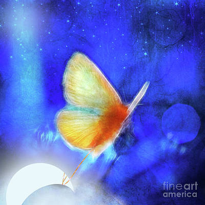 Digital Art - The Giant Butterfly And The Moon by Aimelle