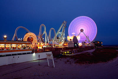 Wildwood Photograph - The Giant Wheel At Night  by George Oze