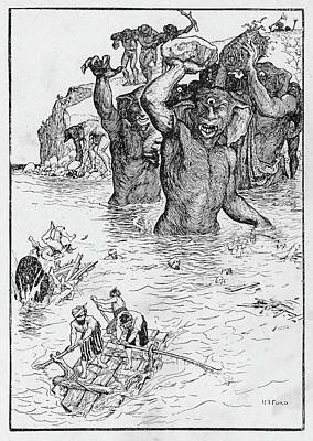 Cyclops Drawing - The Giants Hurl Rocks At  Sinbad by Mary Evans Picture Library