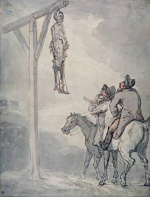 Torture Wall Art - Photograph - The Gibbet Pen & Ink And Wc On Paper by Thomas Rowlandson
