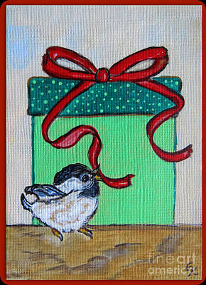 The Gift - Christmas Chickadee Whimsical Painting By Ella Art Print by Ella Kaye Dickey