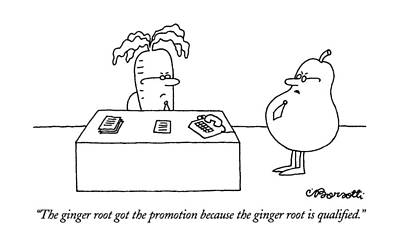Pears Drawing - The Ginger Root Got The Promotion Because by Charles Barsotti