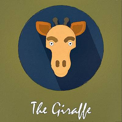 Painting - The Giraffe Cute Portrait by Florian Rodarte