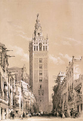 People Drawing - The Giralda, Seville by David Roberts