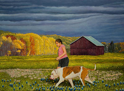 Bulldog Oil Painting - The Girl And Her Dog Original Oil Painting 18x24in by Manuel Lopez