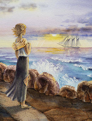 Ocean At Sunset Painting - The Girl And The Ocean by Irina Sztukowski