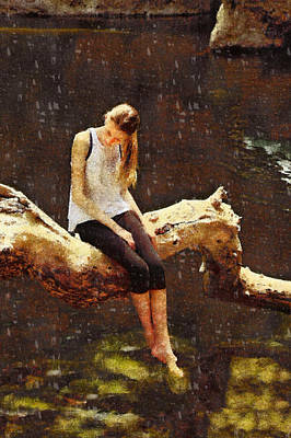 Malibu Painting - The Girl From Malibu Rock Pool by Viktor Savchenko