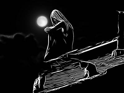The Girl On The Roof Art Print