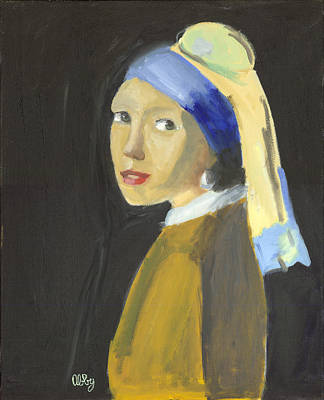 Girl With A Pearl Earring Painting - The Girl With A Pearl Earring by Abby Margo