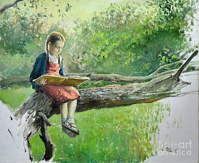 The Girl With Book Art Print by Eugene Maksim