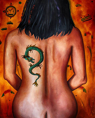 Asian Nude Painting - The Girl With The Dragon Tattoo Edit 3 by Leah Saulnier The Painting Maniac
