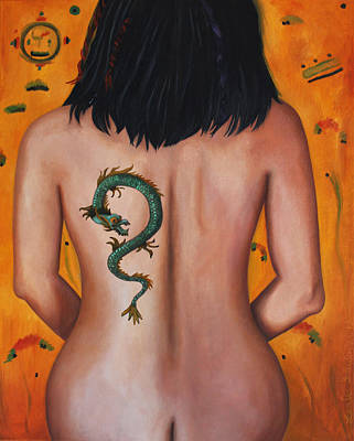 Asian Nude Painting - The Girl With The Dragon Tattoo by Leah Saulnier The Painting Maniac
