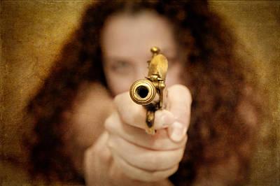 The Girl With The Golden Gun Art Print