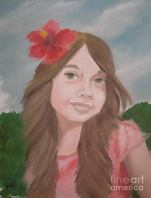 The Girl With The Red Flower II Art Print by Angela Melendez