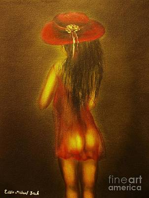 Painting - The Girl With The Red Hat-original Sold-buy Giclee Print Nr 35 Of Limited Edition Of 40 Prints  by Eddie Michael Beck