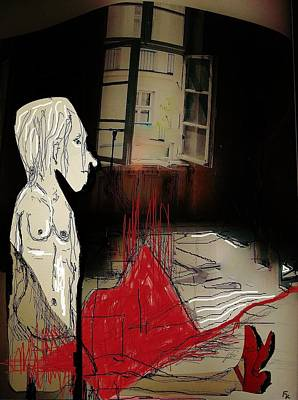 Outlook Mixed Media - The Girl With The Red Shoes by Franziska Kolbe