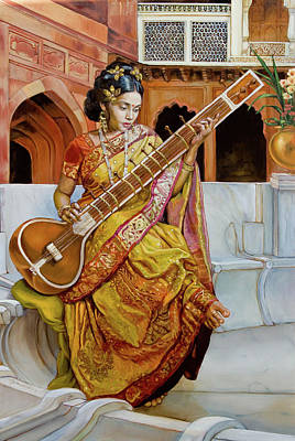 Classical Realism Painting - The Girl With The Sitar by Dominique Amendola