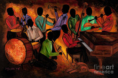New Orleans Jazz Painting - The Gitdown Hoedown by Larry Martin