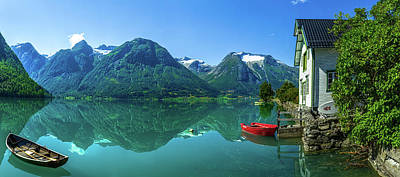 Norway Wall Art - Photograph - The Glacier Lake by Christer Olsen