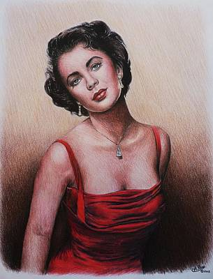 Brunette Drawing - The Glamour Days Elizabeth Taylor by Andrew Read