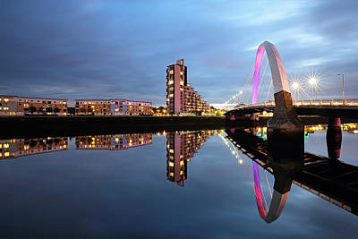 Photograph - The Glasgow Clyde Arc Bridge by Grant Glendinning
